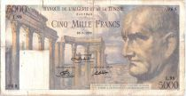 Tunisie 5000 Francs Vespasien, ruines  romaines - 1950