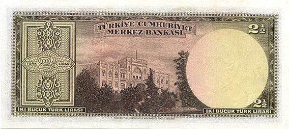 Turkey 2.5 Lira Pres. L. Inonu - Bank