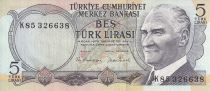 Turkey 5 Lirasi - Waterfall - 1976