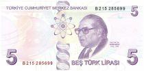 Turkey 5 Yeni Turk Lirasi Turk Lirasi, Pdt Ataturk - Aydin Sayili 2013