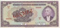 Turkey 50 Lira Pres. L. Inonu - 1942
