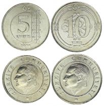 Turkey Set of 2 coins : 5 and 10 Kurush Ataturk - 2018 - UNC