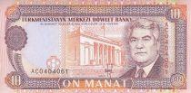 Turkménistan 10 Manat - S. Niazov - Immeuble gouvernement - 1993