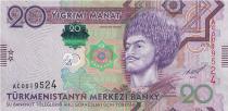 Turkménistan 20 Manat - Gorogly Beg Türkmen - Palais - 2012