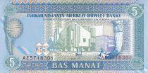 Turkménistan 5 Manat - Immeuble Moderne - Monument - 1993