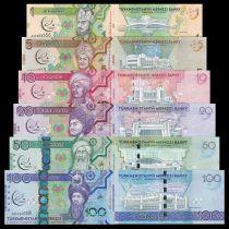 Turkménistan Série 6 billets 1 à 100 Manat Togrul Beg Turkmen - Jeux martiaux - 2017 - Neuf
