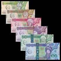 Turkmenistan Set of 6 banknotes 1 to 100 Manat Togrul Beg Turkmen - Martial games - 2017  - UNC