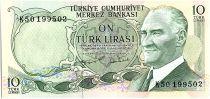 Turquie 10 Lira, Pdt Ataturk - Tour Maiden - 1975 - P. 186