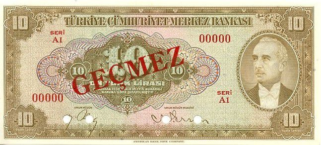 Turquie 10 Lira Pdt L. Inonu - 1948