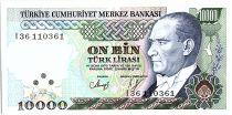 Turquie 10000 Lira, Président  Ataturk - Minar sinar- 1989 - P. 200