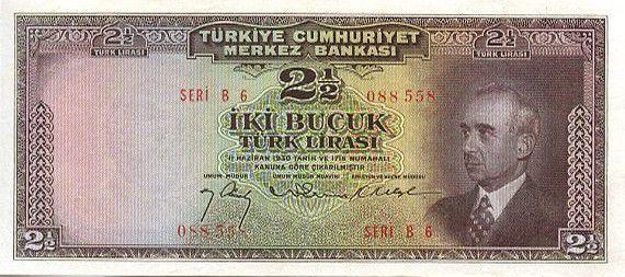 Turquie 2.5 Lira Pdt L. Inonu - Banque