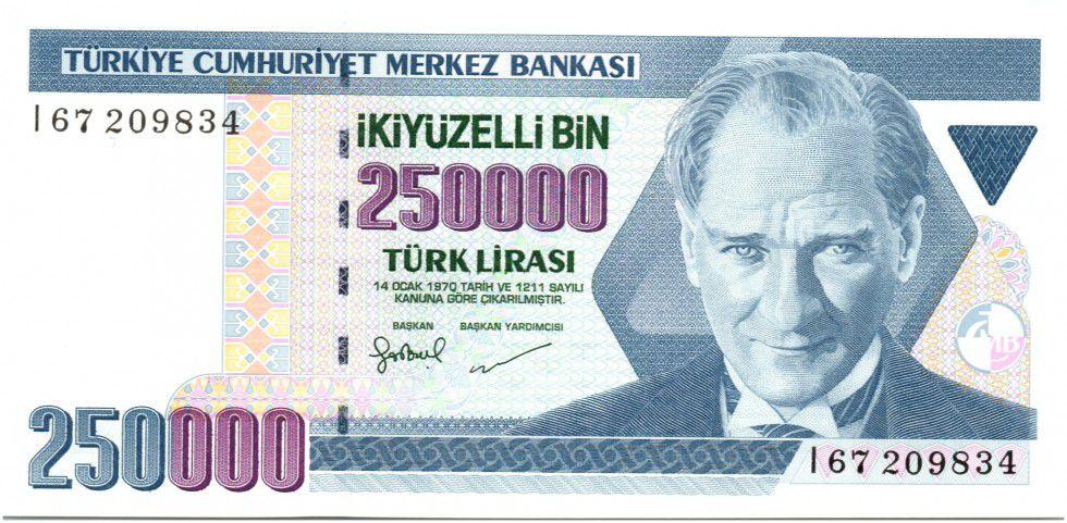 Turquie 250000 Lirasi Pdt Ataturk - Forteresse 1998