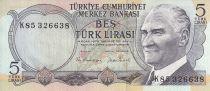 Turquie 5 Lirasi Pdt Ataturk - Casacade - 1976