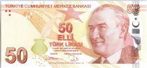 Turquie 50 Yeni Turk Lirasi Turk Lirasi, Pdt Ataturk - Fatma Aliye - 2013