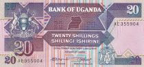 Uganda 20 Shillings - Arms - Monuments - 1987