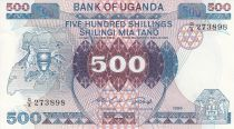 Uganda 500 Shillings Emblemas- Vacas, recolecta de café - 1986