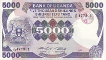 Uganda 5000 Shillings Arms - Monument - 1986