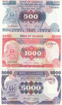 Uganda Set of 3 banknotes  - 500, 1000, 5000 Shillings - 1986