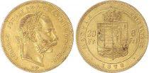 Ungheria 8 Florins / 20 Francs Franz Joseph I - Arms - 1878 Gold KB