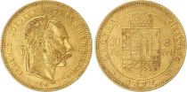 Ungheria 8 Florins / 20 Francs Franz Joseph I - Arms - 1879 Gold KB