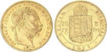 Ungheria 8 Florins / 20 Francs Franz Joseph I - Arms - 1888 Gold KB