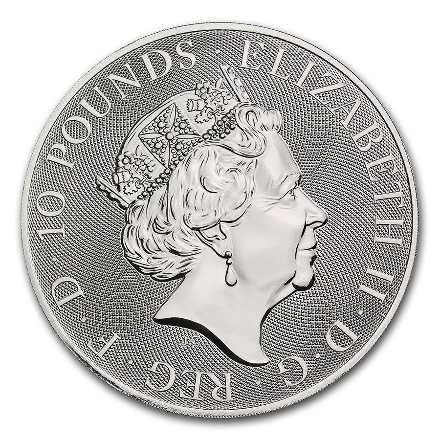 United Kingdom 10 Pounds Elizabeth II - Lion -  10 Oz Silver 2021