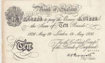 United Kingdom 10 Pounds False Operation Bernhard - 1936 - London - VF