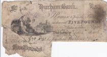 United Kingdom 5 Pounds Durham Bank - 1886 - F - Serial CQ 620