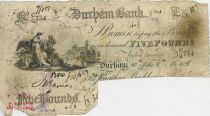 United Kingdom 5 Pounds Durham Bank - 1886 - Serial CQ 754 - F