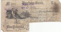 United Kingdom 5 Pounds Durham Bank - 1889 - F - CR 981