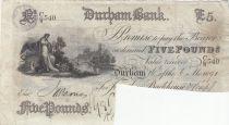 United Kingdom 5 Pounds Durham Bank - 1889 - VF - CW.540