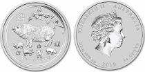 United Kingdom 50 Cents Elizabeth II - Year of the Pig -  1/2 Oz Silver 2019