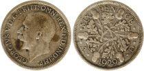 United Kingdom 6 Pence 1929 - Oak leaves, George V, silver