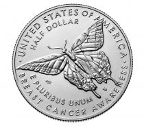 United States of America 1 Dollar Breast Cancer, butterfly Proof - D Denver Copper nickel