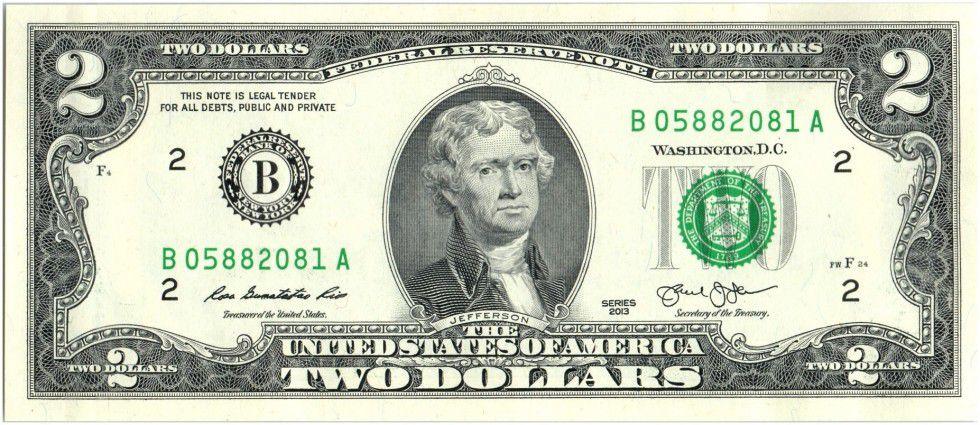United States of America 2 Dollars Jefferson - Independance 1776 - 2013 B2 New York
