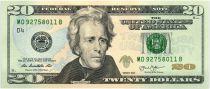United States of America 20 Dollars Jackson - White House 2013 D4 Cleveland
