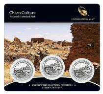 United States of America FDC.2012 Set of 3 coins of 1/4 $ Chaco Culture
