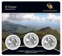 United States of America FDC.2012 Set of 3 coins of 1/4 $ El Yunque
