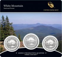 United States of America FDC.2013 Set of 3 coins of 1/4 $ White Mountain