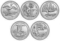 United States of America Lot 5 x $¼ 2018 National Parks, 5x P (PHILADELPHIA)