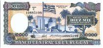 Uruguay 10000 Nuevos Pesos, Place et Drapeau - 1987
