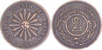 Uruguay 2 Centisimos Oriental Rpublic of Uruguay - 1869 - VF - P.12