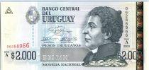 Uruguay 2000 Pesos Urugayos Urugayos, Damaso Antonio Larragna - National library - 2003