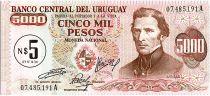 Uruguay 5 Nuevos Pesos sur 5000 Pesos, Jose Gervasio ARTIGAS - 1975
