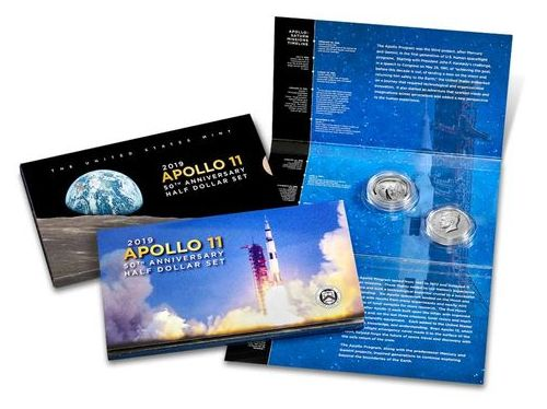 USA 1/2 Dollar Apollo 11 et 1/2 Dollar Kennedy 2019 - Coffret 2 monnaies FDC