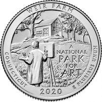 USA 1/4 Dollar - Quarter Weir Farm Historic Site 2020 - Denver D