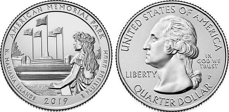 USA 1/4 Dollar American Memorial - P Philadelphia - 2019