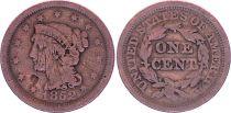 USA 1 Cent,  Femme Cheveux tréssés - 1852