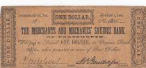 USA 1 Dollar - the Merchants and Mecanics Saving Bank - 1861 - Fine