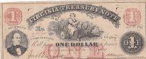USA 1 Dollar - Virginia Treasury Note -1862 - VF